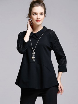 Ericdress Plus Size Asymmetric Pleated T-Shirt