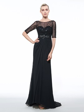 Ericdress Bateau Sheath Half Sleeves Beading Ruched Sequins Sweep Train Evening Dress