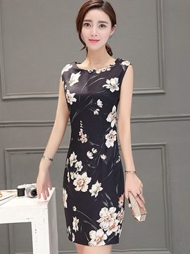 Ericdress Summer Sleeveless Print Round Neck Bodycon Dress