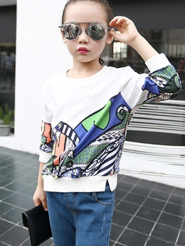 Ericdress Green Leaves Graffiti Sweatshirts Girls Tops