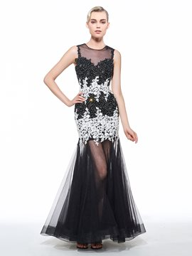 Ericdress Scoop Mermaid Appliques Beading Lace Floor-Length Evening Dress