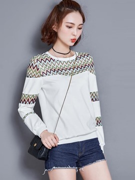 Ericdress Wave Print Long Sleeve T-Shirt