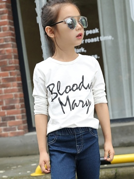 Ericdress Simple Letter Printed Long Sleeve Girls Tops