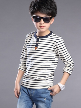Ericdress Pinstriped Button Patchwork Boy's Top