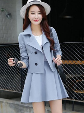 Ericdress Unique Double-Breasted Trench Coat Suit