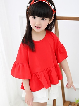 Ericdress Korean Trumpet Sleeve Falbala Pleated Patchwork Girls Outfits