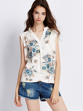 Ericdress Loose V-Neck Floral Printed Vest