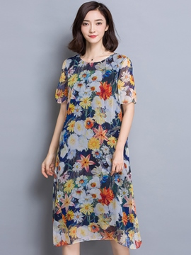 Ericdress Summer Chiffon Short Sleeve Flower Print Casual Dress