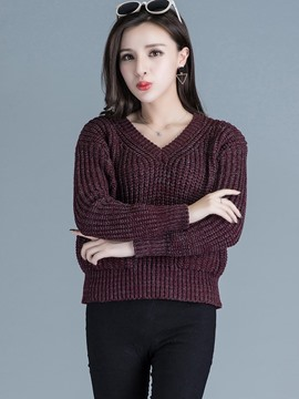 Ericdress V-Neck Loose Knitwear
