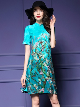 Ericdress Plant Print Short Sleeve A-Line Casual Dress