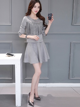 Ericdress Fashion Tassel T-Shirt Suit