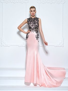 Ericdress Jewel Mermaid Appliques Lace Court Train Evening Dress