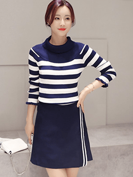 Ericdress Unique Stripe Skirt Suit