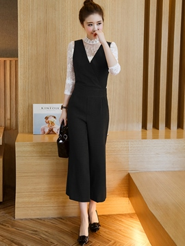 Ericdress Solid Color Jumpsuits Pants Suit