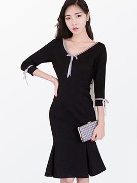Ericdress V-Neck Three-Quarter Mermaid Sheath Dress