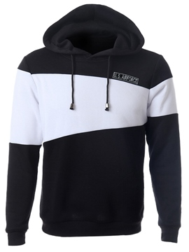 Ericdress Hood Color Block Pullover Men's Hoodie
