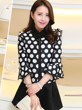 Ericdress Loose Polka Dots Trumpet Jacket
