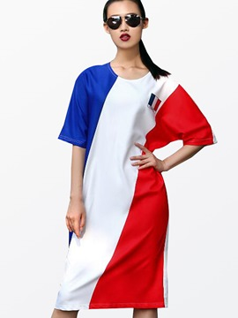 Ericdress Color Block Straight Round Neck Casual Dress