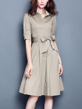 Ericdress Plain Half Sleeve Bowknot Casual Dress