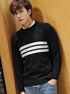 Ericdress Front Stripe Pullover Men's Sweater