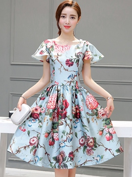 Ericdress Pretty Cap Sleeve Print A-Line Ball Gown Casual Dress