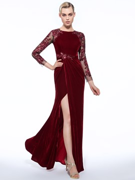 Ericdress Jewel Sheath Long Sleeves Appliques Button Sequins Split-Front Evening Dress