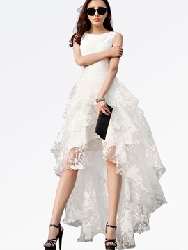 Ericdress Solid Color Asymmetric Layered Lace Dress