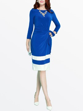 Ericdress Color Block Patchwork Lace-Up Long Sleeve Casual Dress