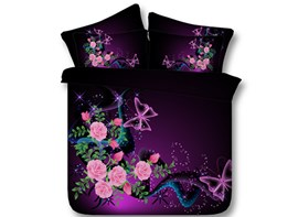 Ericdress Butterfly Rose Print 3D Bedding Sets