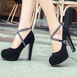 Ericdress Solid Color Rhinestone Cross Strap Platform Prom Shoes