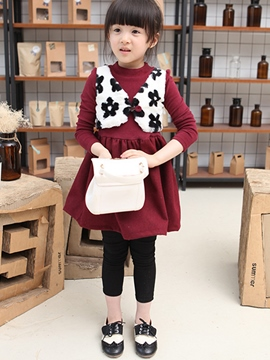 Ericdress Floral Vest Patchwork Pleated Girls Dresses