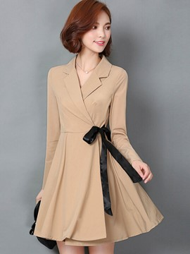 Ericdress Color Block Lace-Up A-Line Trench Coat