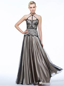 Ericdress A-Line Straps Beading Lace Floor-Length Evening Dress