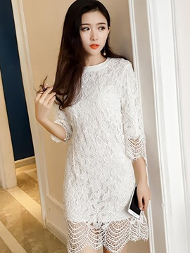 Ericdress Plain Straight Lace Dress
