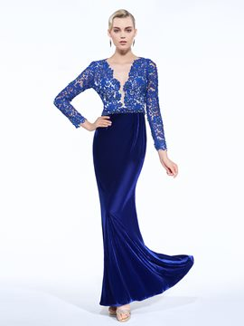 Ericdress Sheath V-Neck Long Sleeves Beaded Lace Sashes Evening Dress