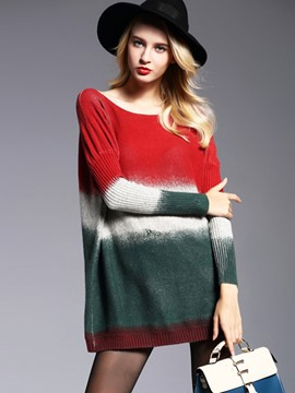 Ericdress Color Block Scoop Neck Loose Knitwear