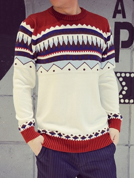 Ericdress Crew Neck Vogue Pattern Men's Sweater