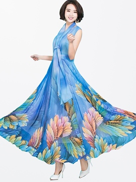 Ericdress Summer Sleeveless Print Expansion Maxi Dress