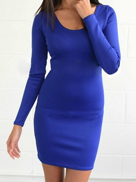 Ericdress Plain Long Sleeve Round Neck Bodycon Dress