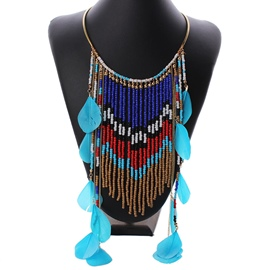 Ericdress Feather Tassel Beading Necklace