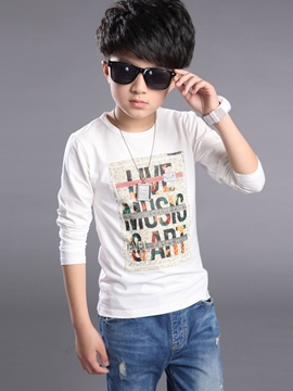 Ericdress Simple Letter Printed Tee Boy's Top