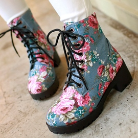 Ericdress Floral Denim Lace up Ankle Boots