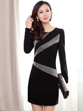 Ericdress Autumn Long Sleeve Round Neck Patchwork Bodycon Dress