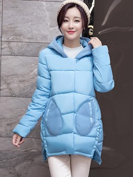 Ericdress Solid Color Pocket Button Hooded Coat