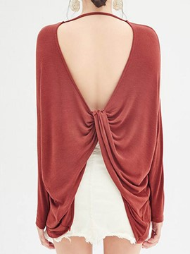 Ericdress Solid Color Loose Backless Cross T-Shirt