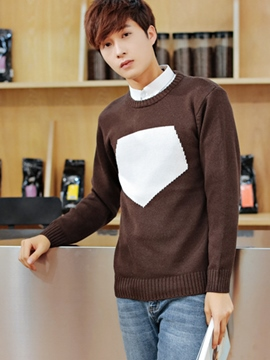 Ericdress Unique Color Block Pullover Men's Sweater