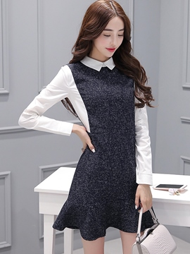 Ericdress Autumn Patchwork Mermaid Casual Dress