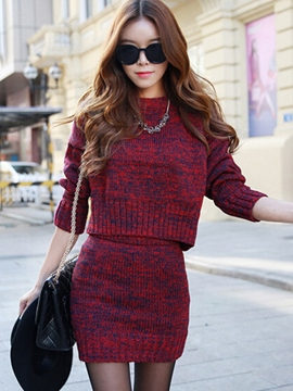 Ericdress Unique Solid Color Knitwear Suit