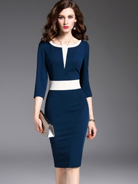 Ericdress Round Neck Color Block Sheath Dress