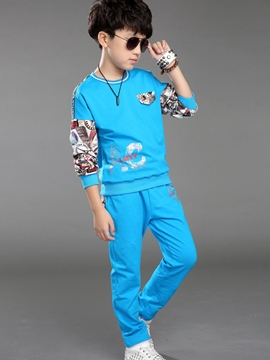 Ericdress Fashion Print Patchwork Thread Collar Sweatshirts Two-Piece Boys Outfits